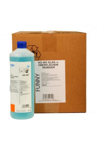 Glas- und Oberflächenreiniger - 12 x 1 L Rundflasche
