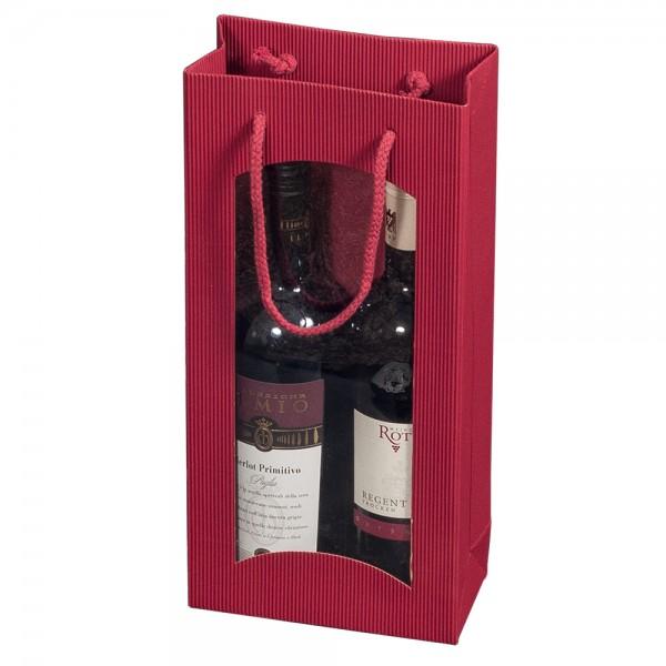 """Tragetasche """"bordeaux"""" für 2 Weinflaschen 170 x 85 x 360 mm"""