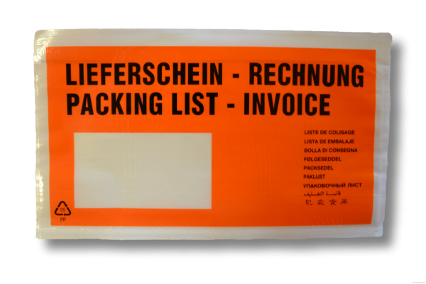 1000 Dokumententaschen DIN lang orange - Format 225 x 120mm