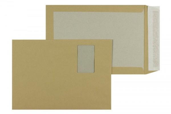Papprückwandtasche DIN C4 229 x 324 mm braun mit Fenster - 100 Stück