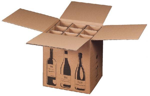 9 er Flaschenverpackung - DHL und UPS zertifiziert - 316 x 305 x 368 mm