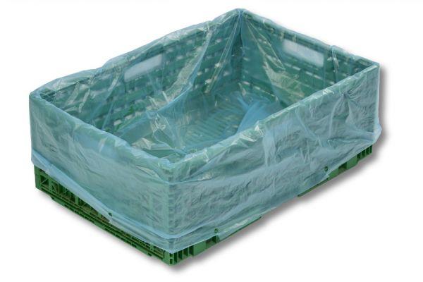 Seitenfaltensäcke 600 + 400 x 800 mm - blau-transparent - 1000 Stück