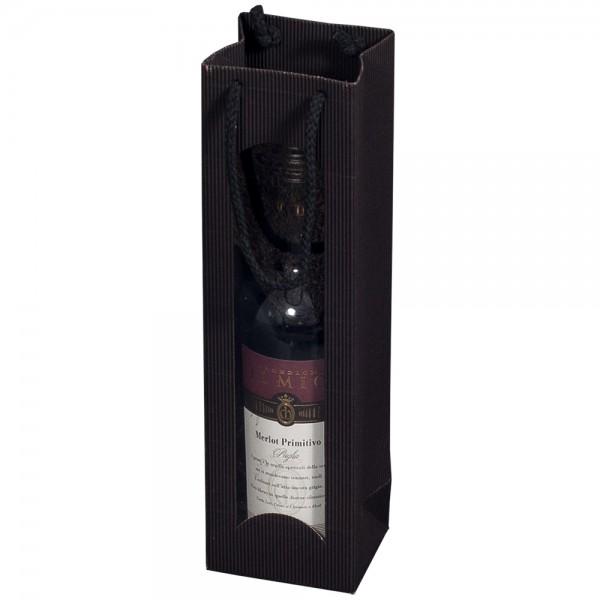 """Tragetasche """"schwarz"""" für 1 Weinflasche 100 x 80 x 360 mm"""