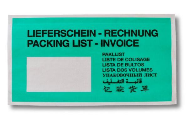 1000 PAPIER Dokumententaschen DIN lang - Format 240 x 131 mm