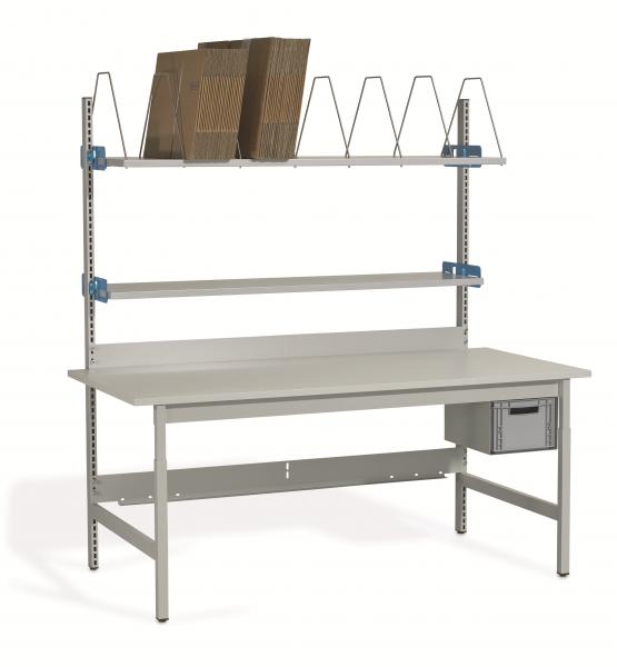Komplett-Packtisch 1600 x 900 mm, höhenverstellbar, Faltschachtelmagazin