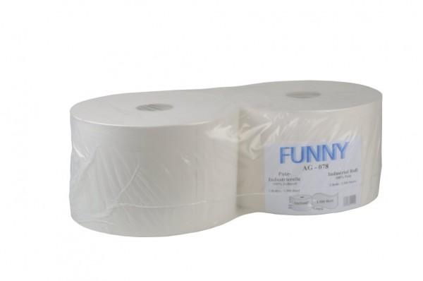 "Putztuchrolle ""Funny"", 2-lagig, hochweiß, 22 x 32,6 cm, 2 Rollen"