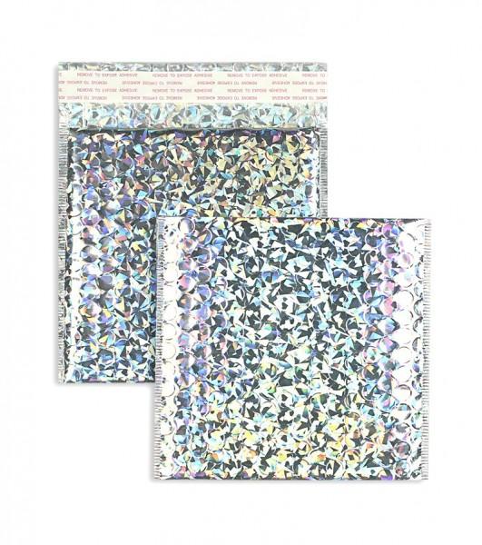 Luftpolstertaschen silber-Regenbogen glänzend - 170 x 185 mm - 10 Stück
