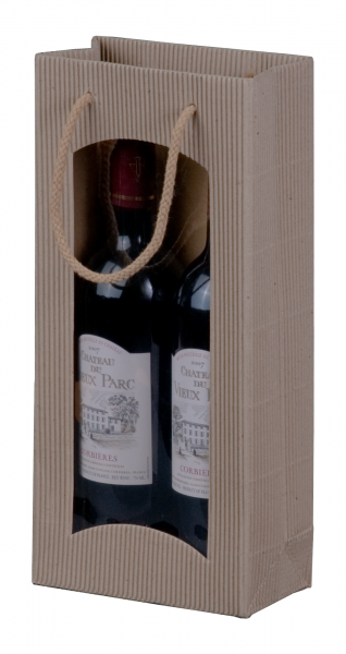 """Tragetasche """"natura"""" für 2 Weinflaschen 170 x 85 x 360 mm"""