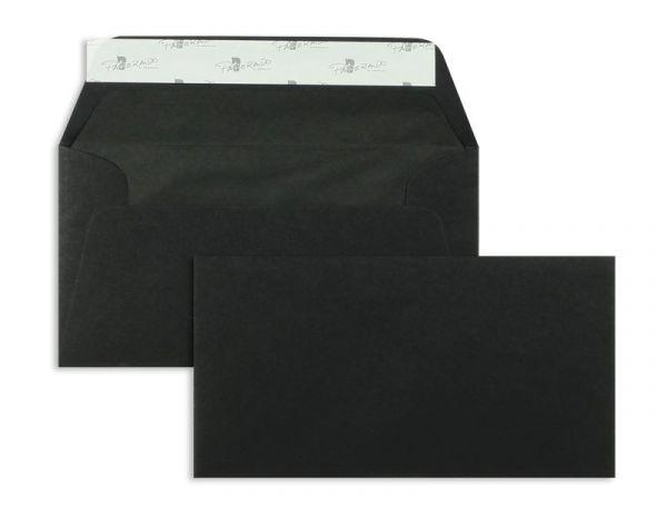 Briefumschlag 110 x 220 mm (DIN Lang) - 100 Stück / VE - Schwarz (Matt)