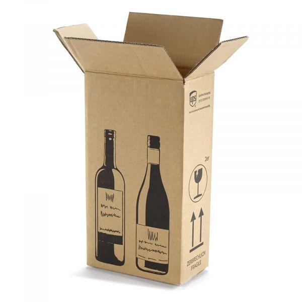 2 er Flaschenverpackung - DHL und UPS zertifiziert - 204 x 108 x 368 mm