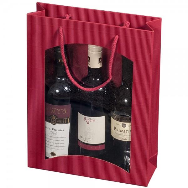 """Tragetasche """"bordeaux"""" für 3 Weinflaschen 270 x 85 x 360 mm"""