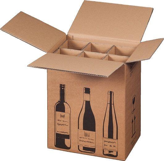 6 er Flaschenverpackung - DHL und UPS zertifiziert - 305 x 212 x 368 mm
