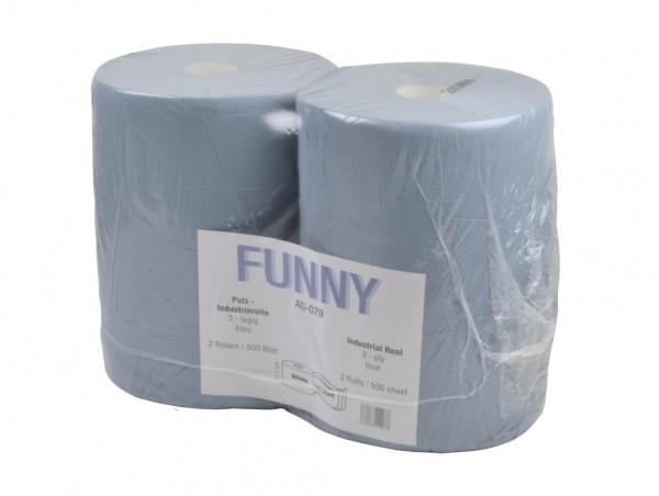 """Putztuchrolle """"Funny"""", 3-lagig, blau, 37,5 x 34 cm, 2 Rollen"""