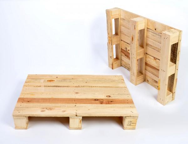 Holzpalette IPPC 600 x 400 x 130 mm - 1/4 Europaletten-Maß