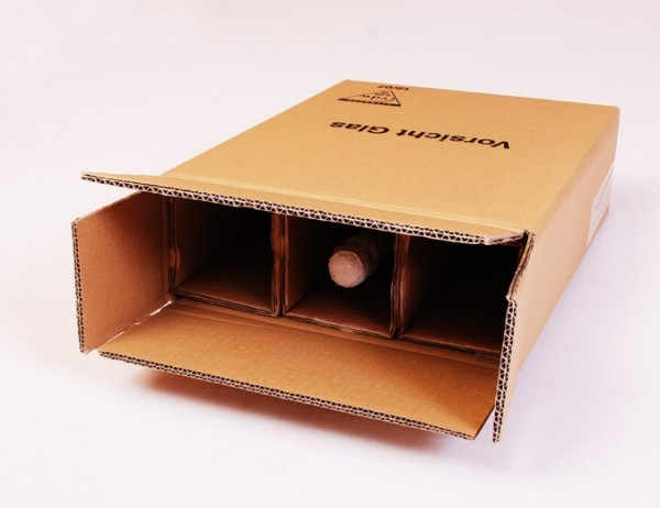 3 er Flaschenkarton - PTZ-Zulassung Post/DHL und UPS