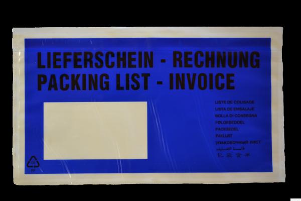 1000 Dokumententaschen DIN lang blau - Format 225 x 120mm
