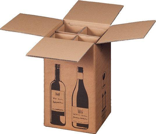 4 er Flaschenverpackung - DHL und UPS zertifiziert - 212 x 204 x 368 mm