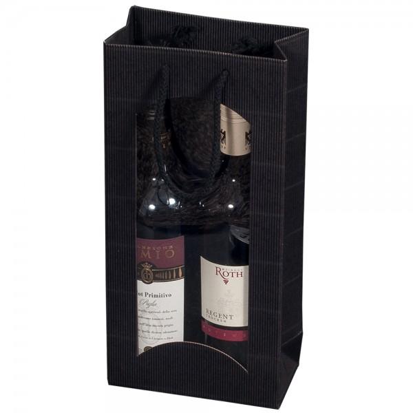 """Tragetasche """"schwarz"""" für 2 Weinflaschen 170 x 85 x 360 mm"""