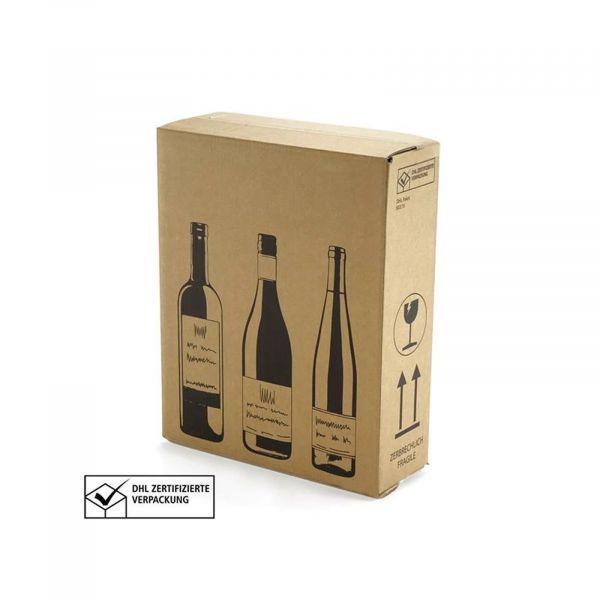 3 er Flaschenverpackung - DHL und UPS zertifiziert - 305 x 108 x 368 mm