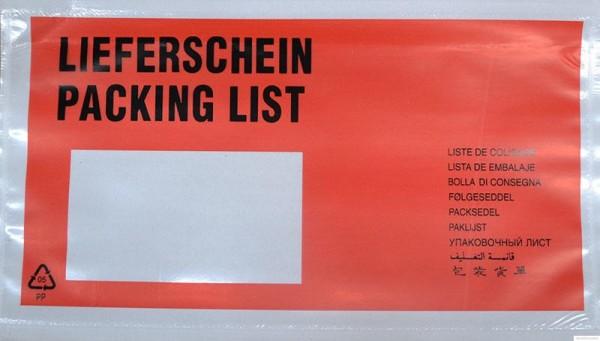 1000 Dokumententaschen DIN lang rot - Format 225 x 120mm