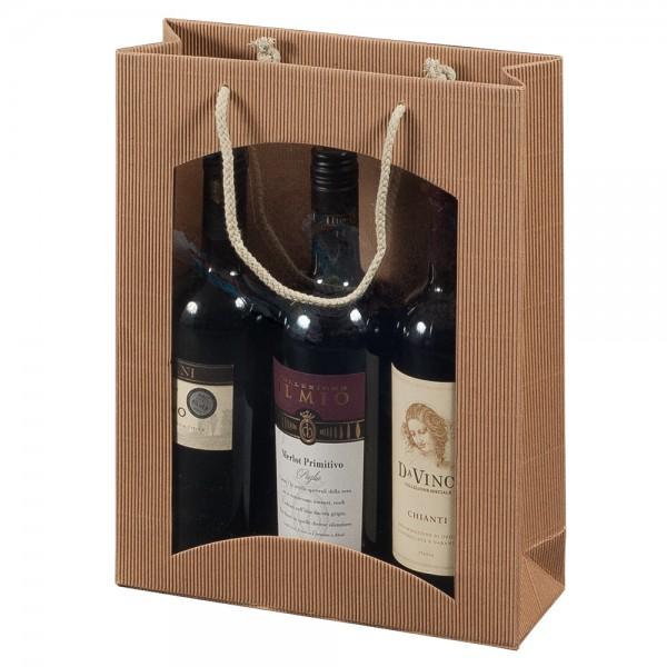 """Tragetasche """"natura"""" für 3 Weinflaschen 270 x 85 x 360 mm"""