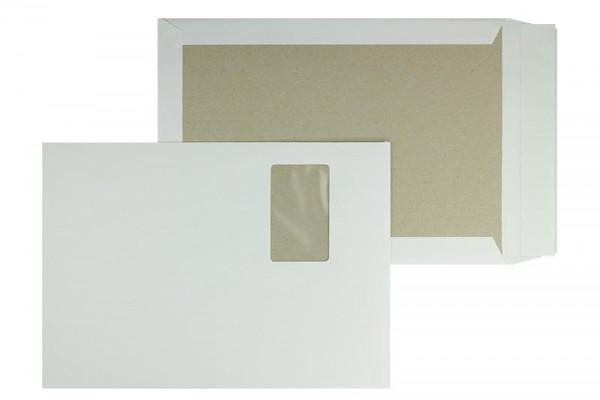 Papprückwandtasche DIN C4 229 x 324 mm weiß mit Fenster - 100 Stück