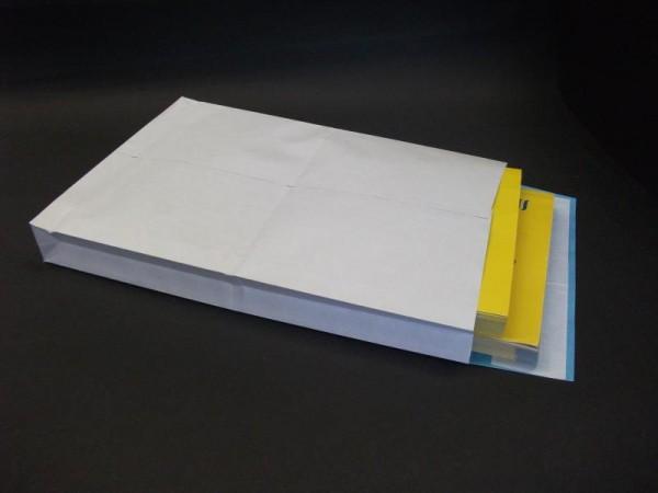 Faltentasche weiß 250 x 40 x 353 mm DIN B4 -fadenverstärkt