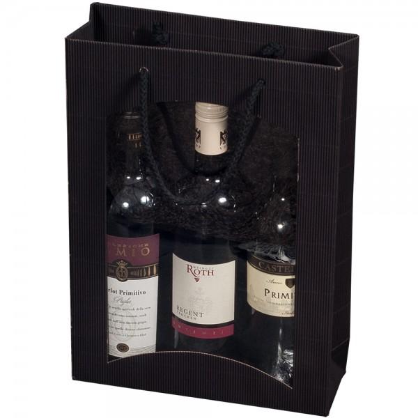 """Tragetasche """"schwarz"""" für 3 Weinflaschen 270 x 85 x 360 mm"""