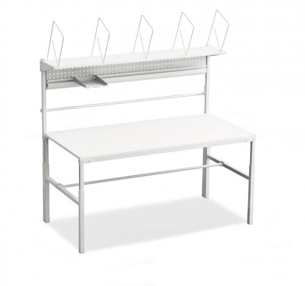 ! Komplett-Packtisch TPB915, 1500 x 900 mm, höhenverstellbar, Kartonagenmagazin, Papierrollenhalter-